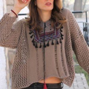 Tassel Patch Loose Knit Sweater